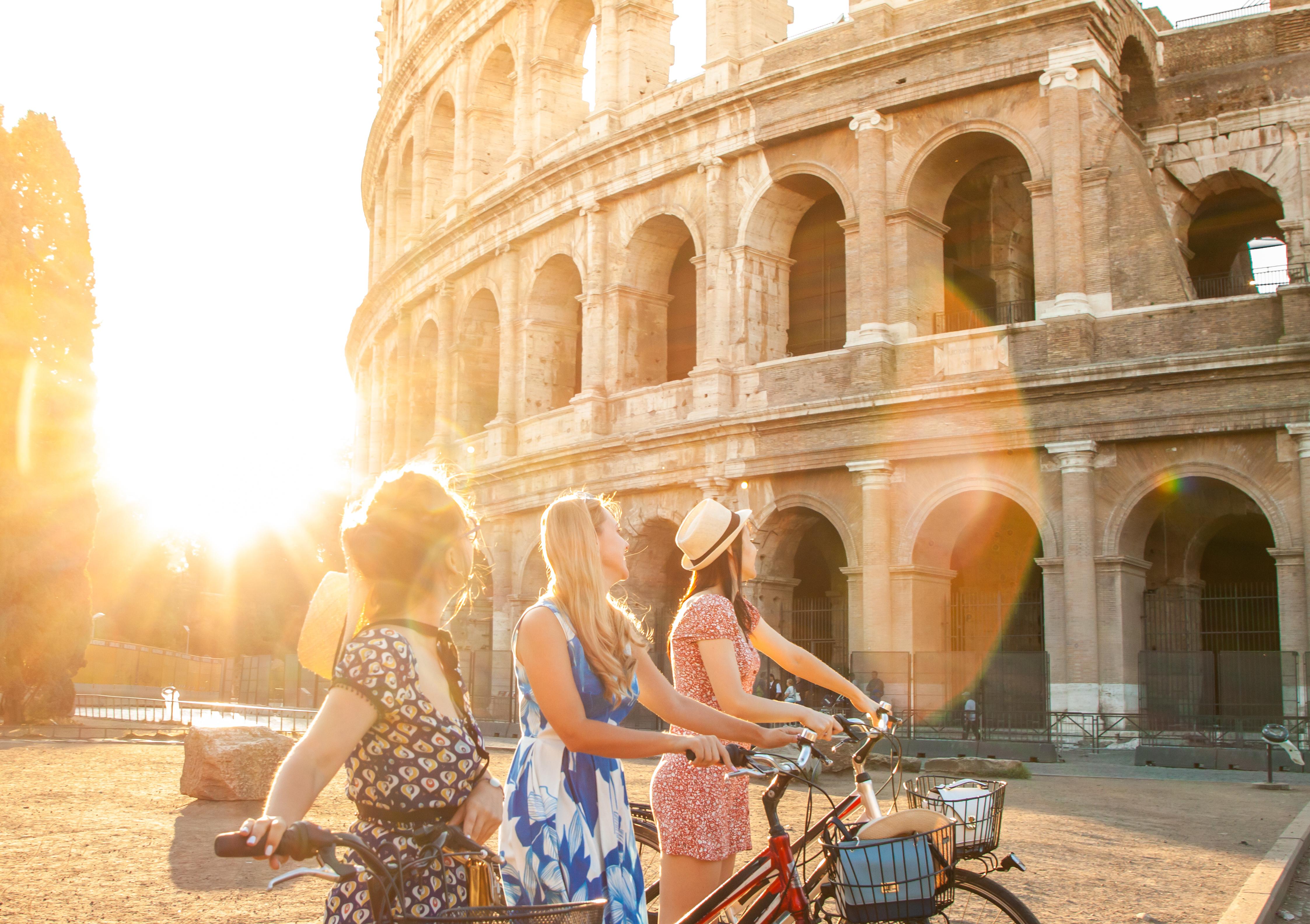 paseo en bici durante las vacaciones en roma